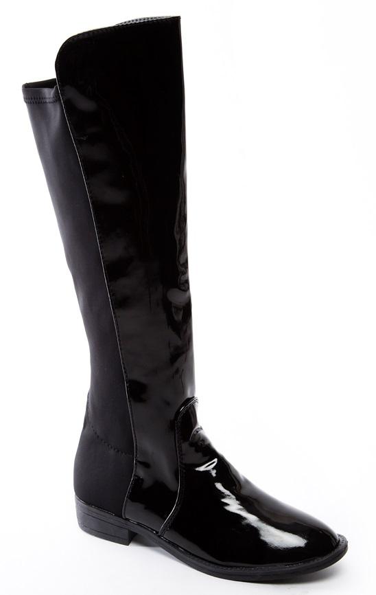 womens black patent flat casual knee high