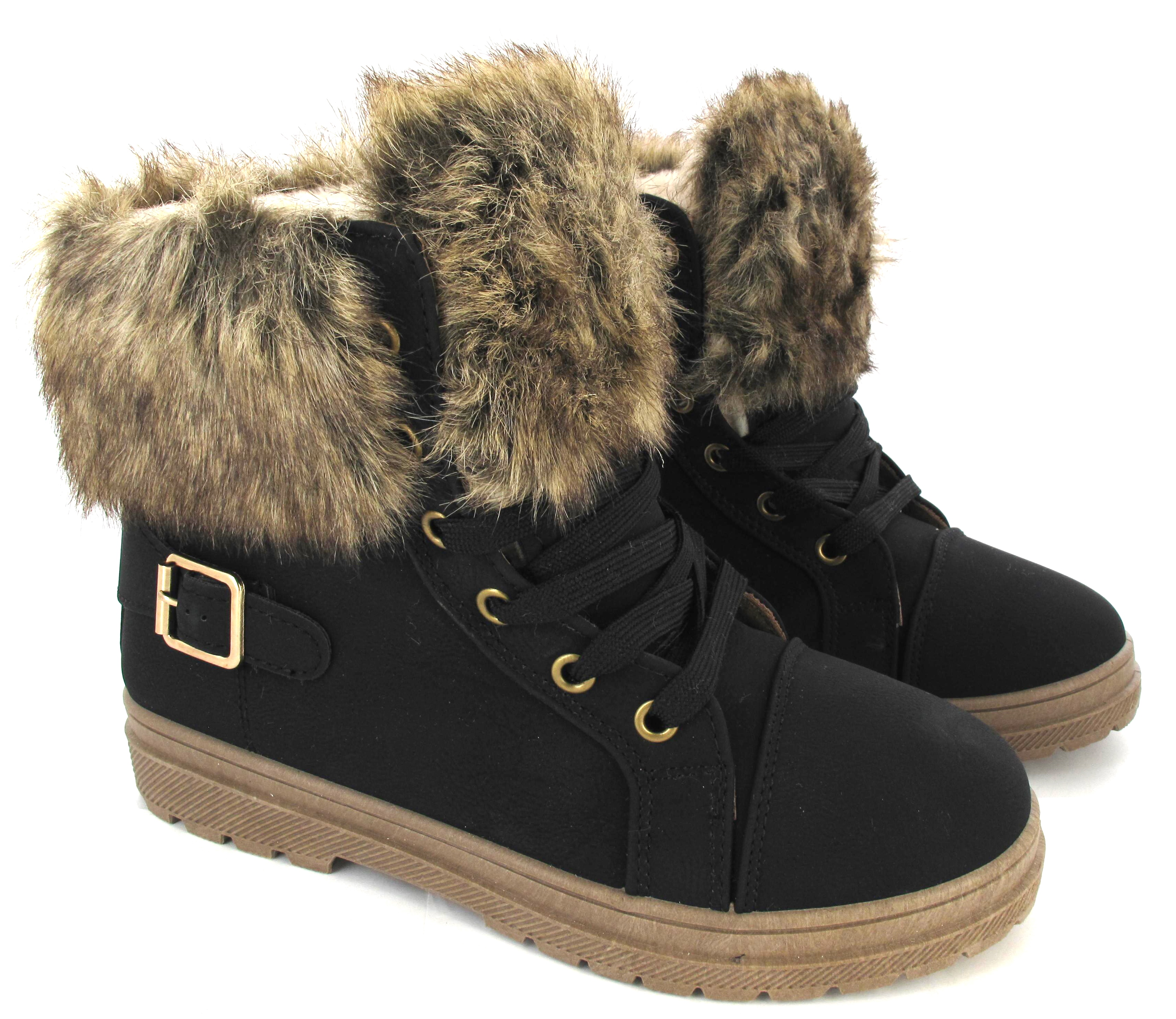 Womens Faux Fur Grip Sole Winter Warm Ankle Boots Sneakers Trainers Shoes Size