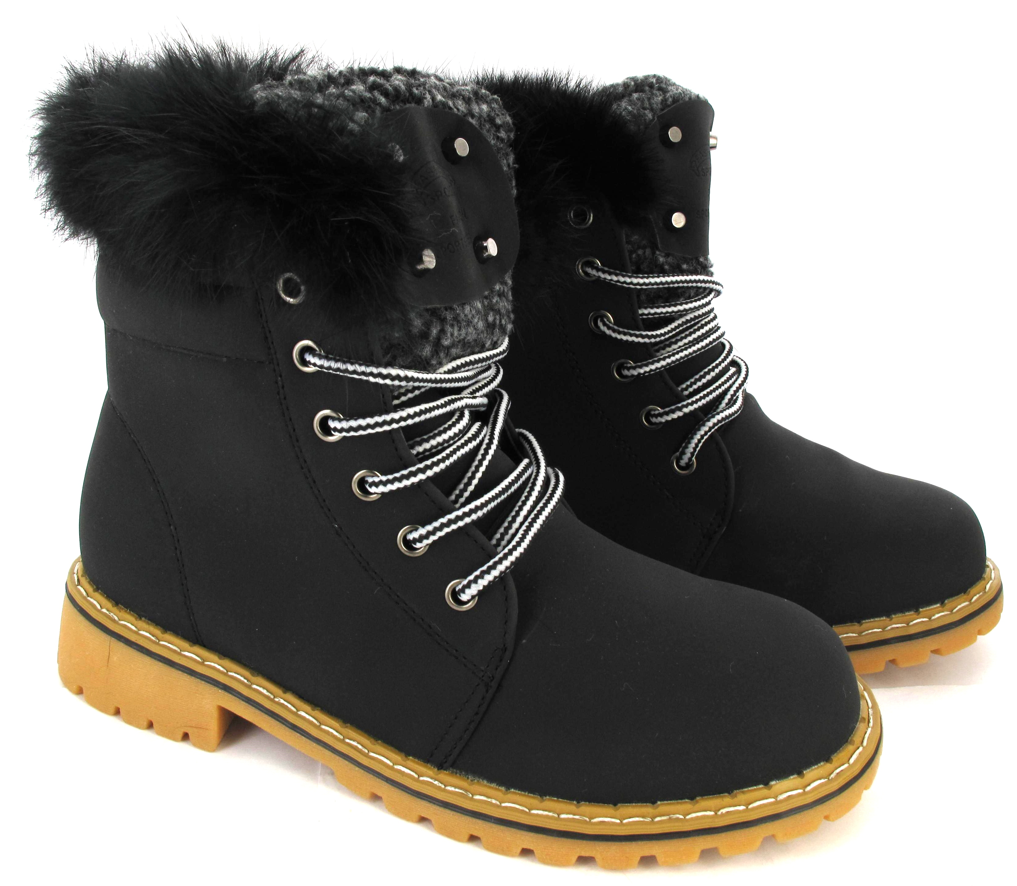 LADIES FAUX FUR GRIP SOLE WOMENS WINTER WARM ANKLE BOOTS TRAINERS ...