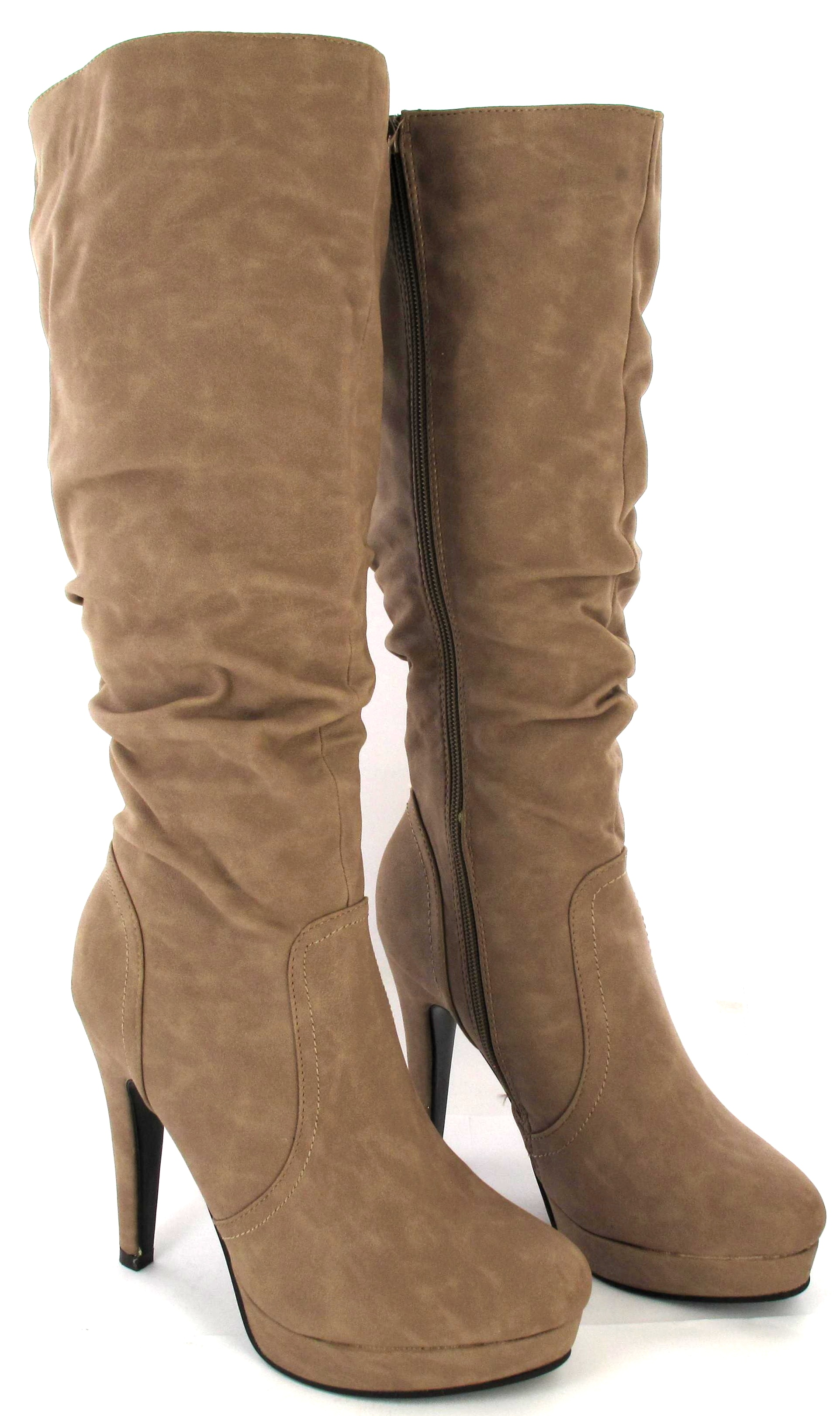 WOMENS-LADIES-FASHION-WEDGE-HEEL-BLACK-KHAKI-TRENDY-BOOTS-SHOES-SIZE-3-4-5-6-7-8