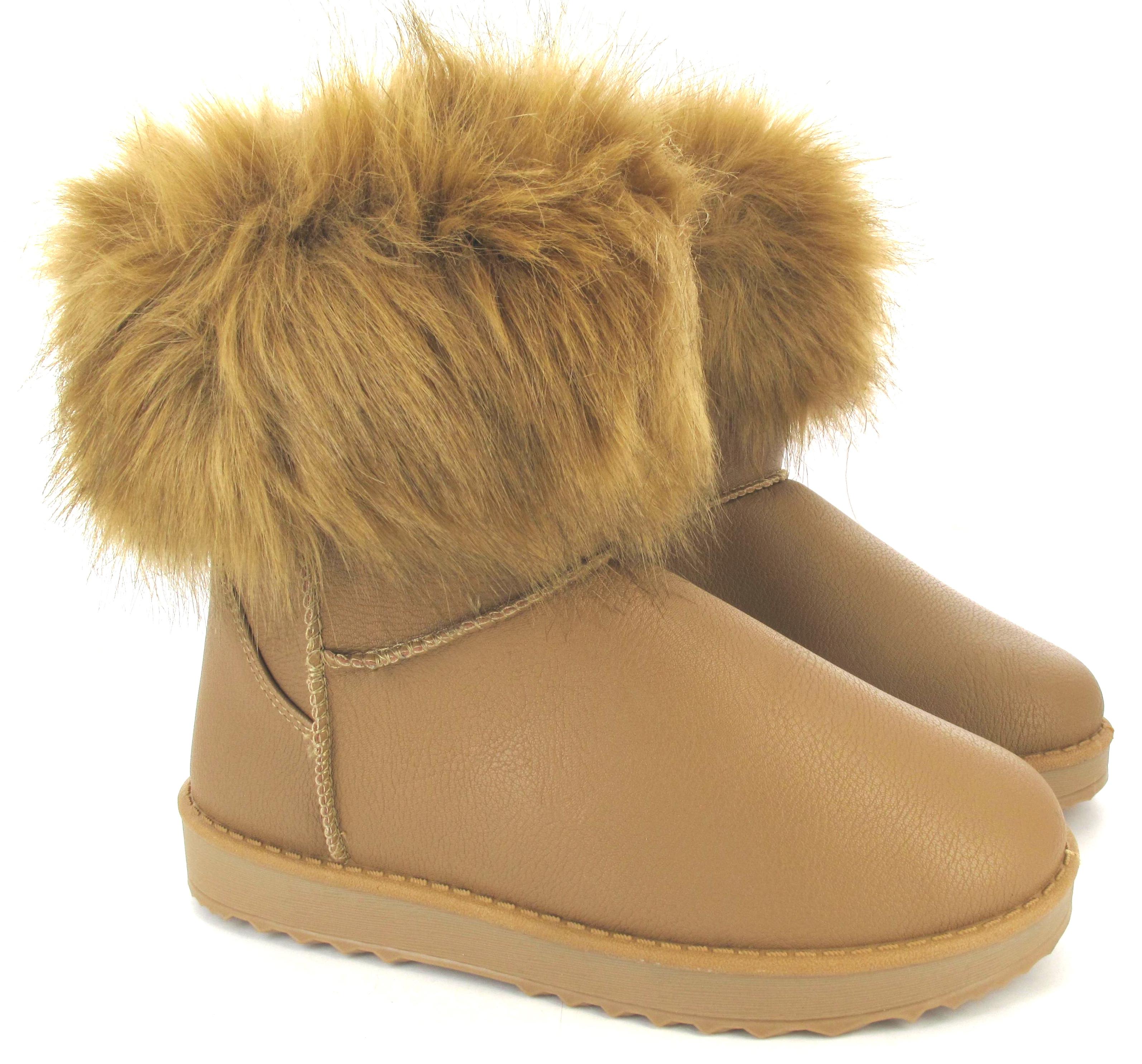 womans flat ankle faux fur comfy collar snugg warm winter