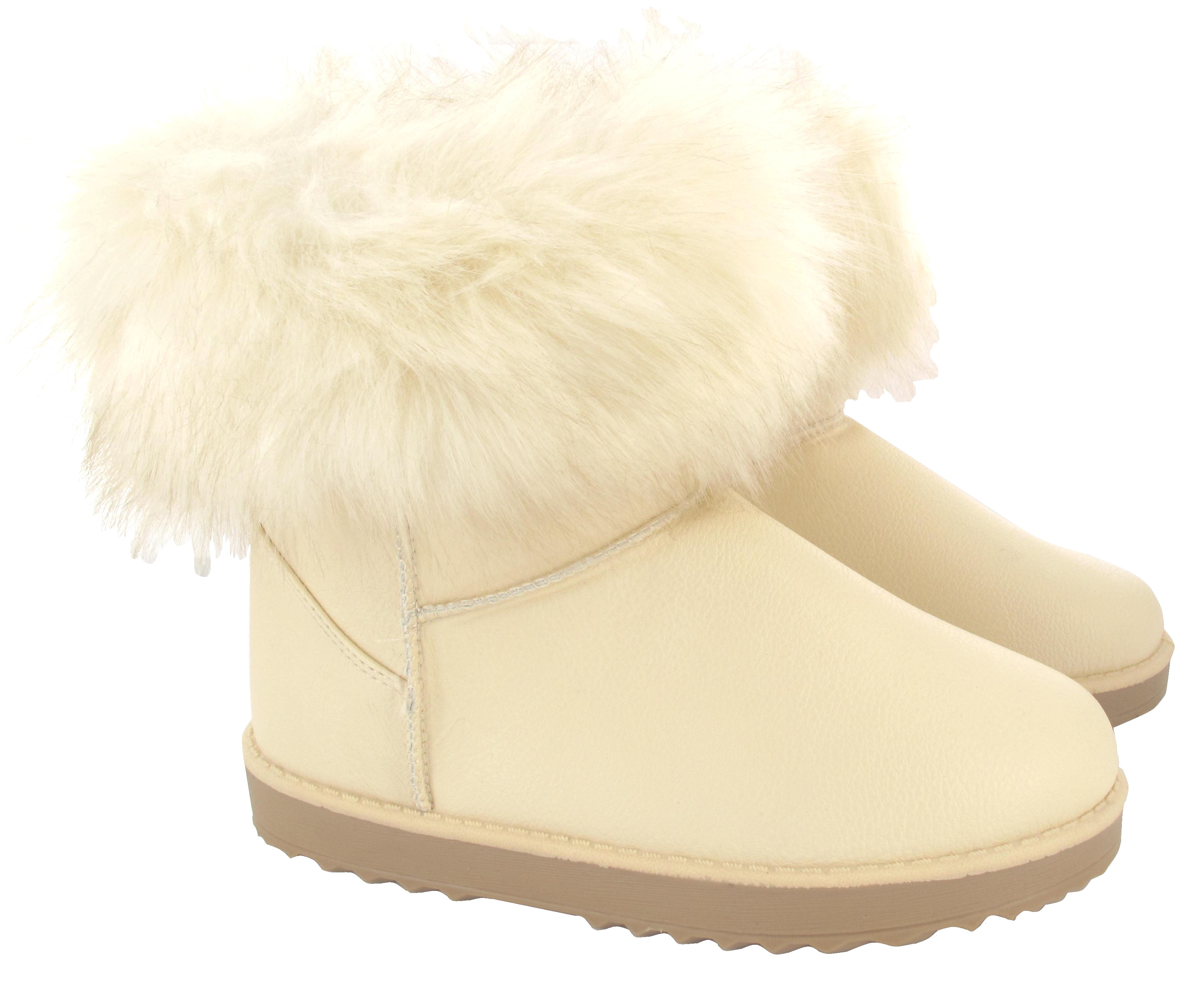 LADIES-FLAT-ANKLE-FAUX-FUR-COMFY-COLLAR-SNUGG-