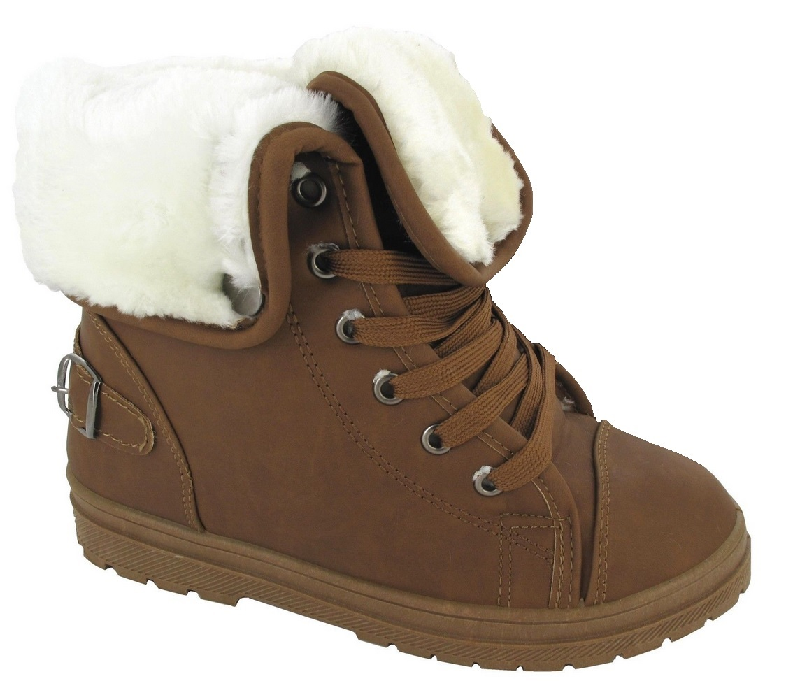 LADIES FUR TRAINER WOMANS AKLE BOOTS WINTER WARM SNOW GRIP