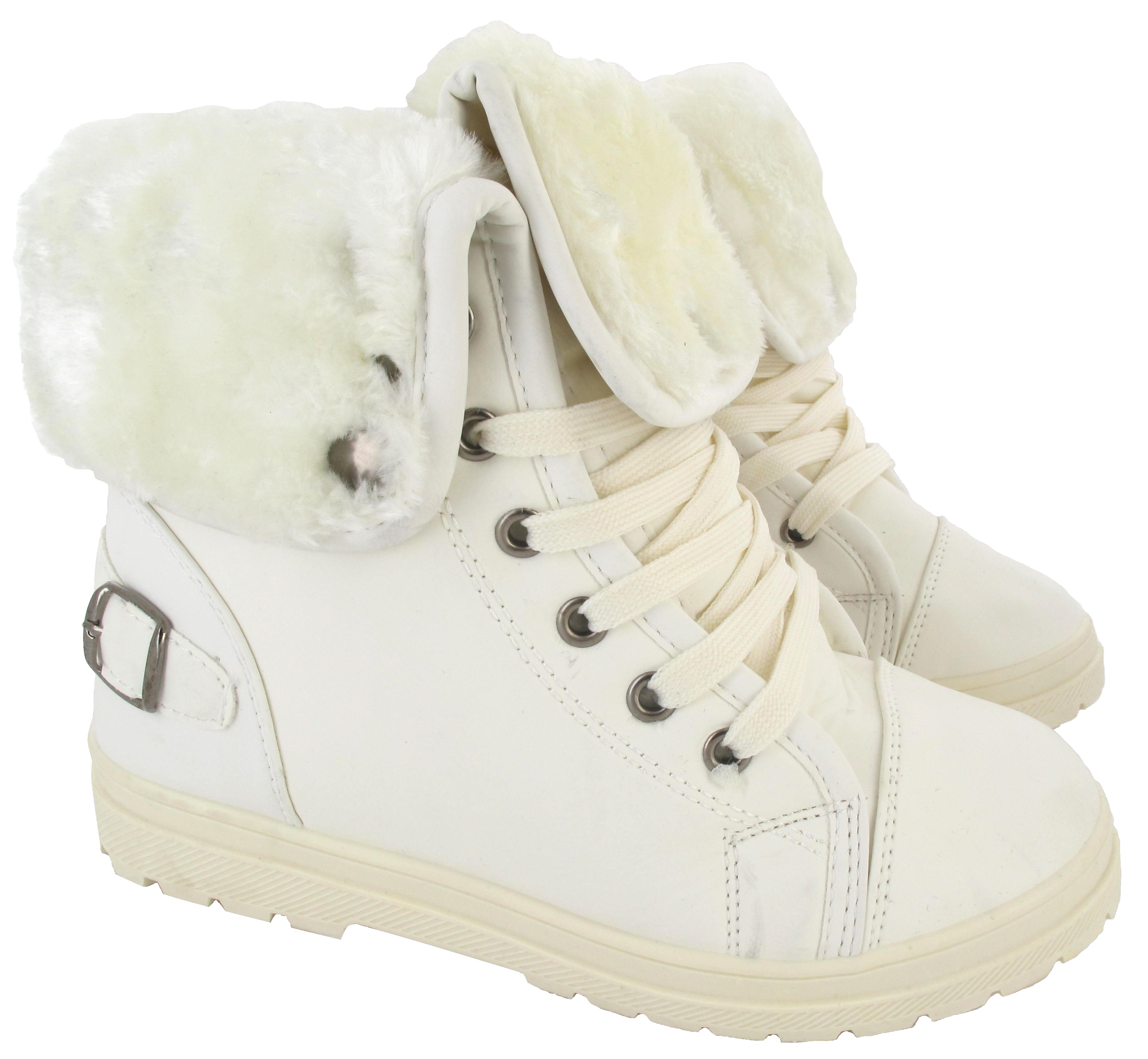LADIES FAUX FUR GRIP SOLE WOMENS WINTER WARM ANKLE BOOTS TRAINERS