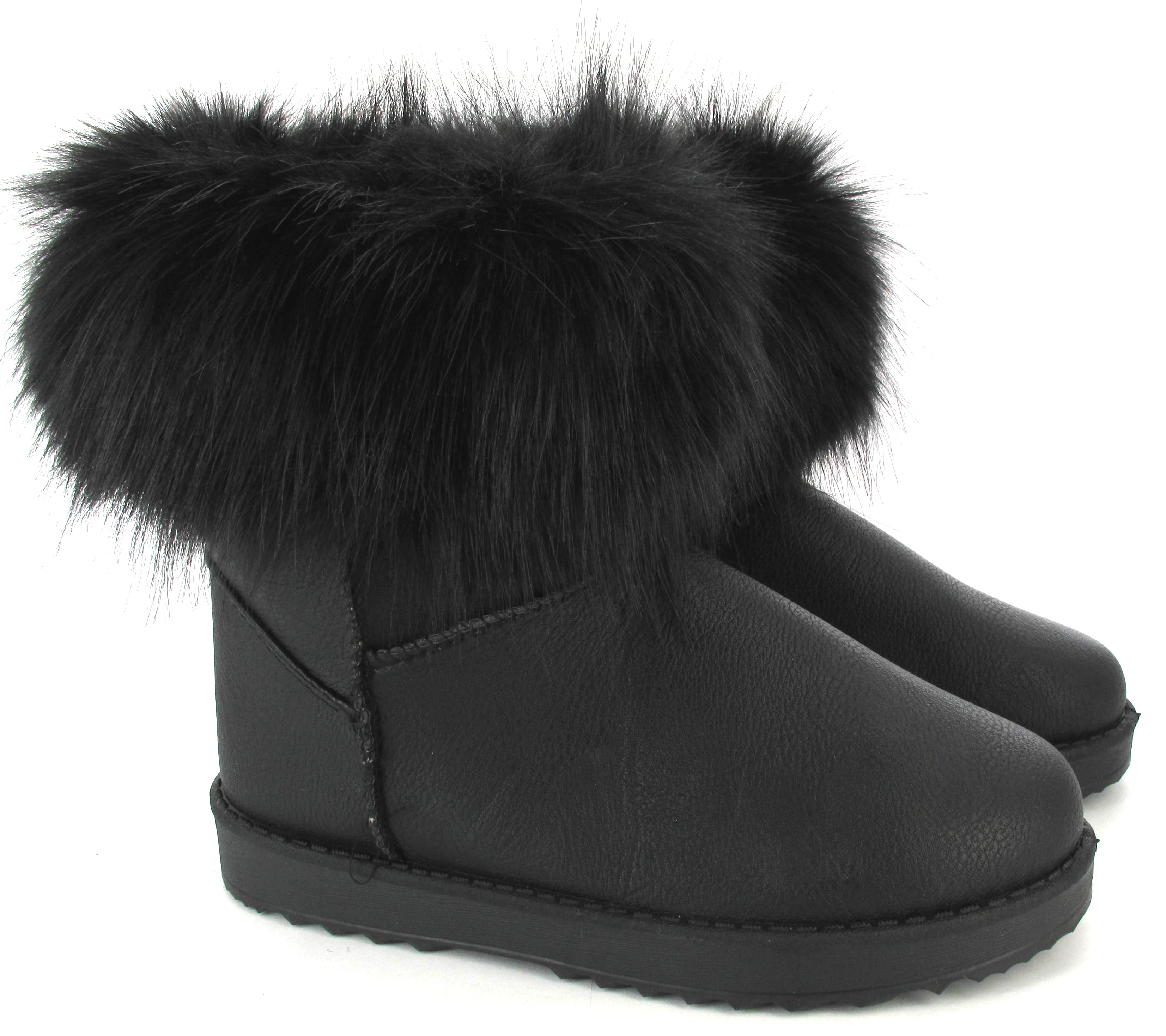 WOMENS QUILTED WINTER FUR LINED LADIES FASHION SNOW ANKLE BOOTS ...