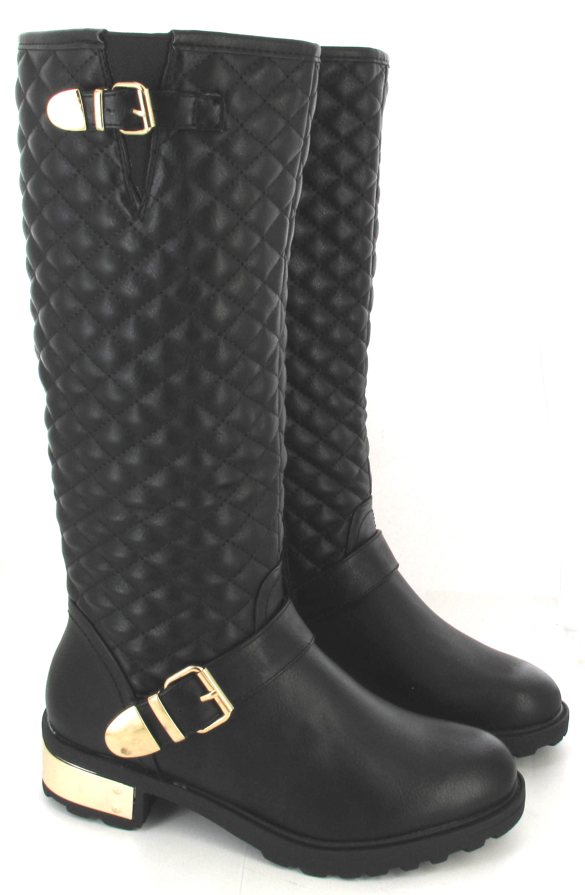 LADIES WOMENS BLACK PATENT FLAT RIDING CASUAL KNEE HIGH BOOTS SIZE ...