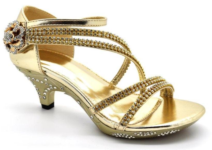 childrens high mid heel diamante