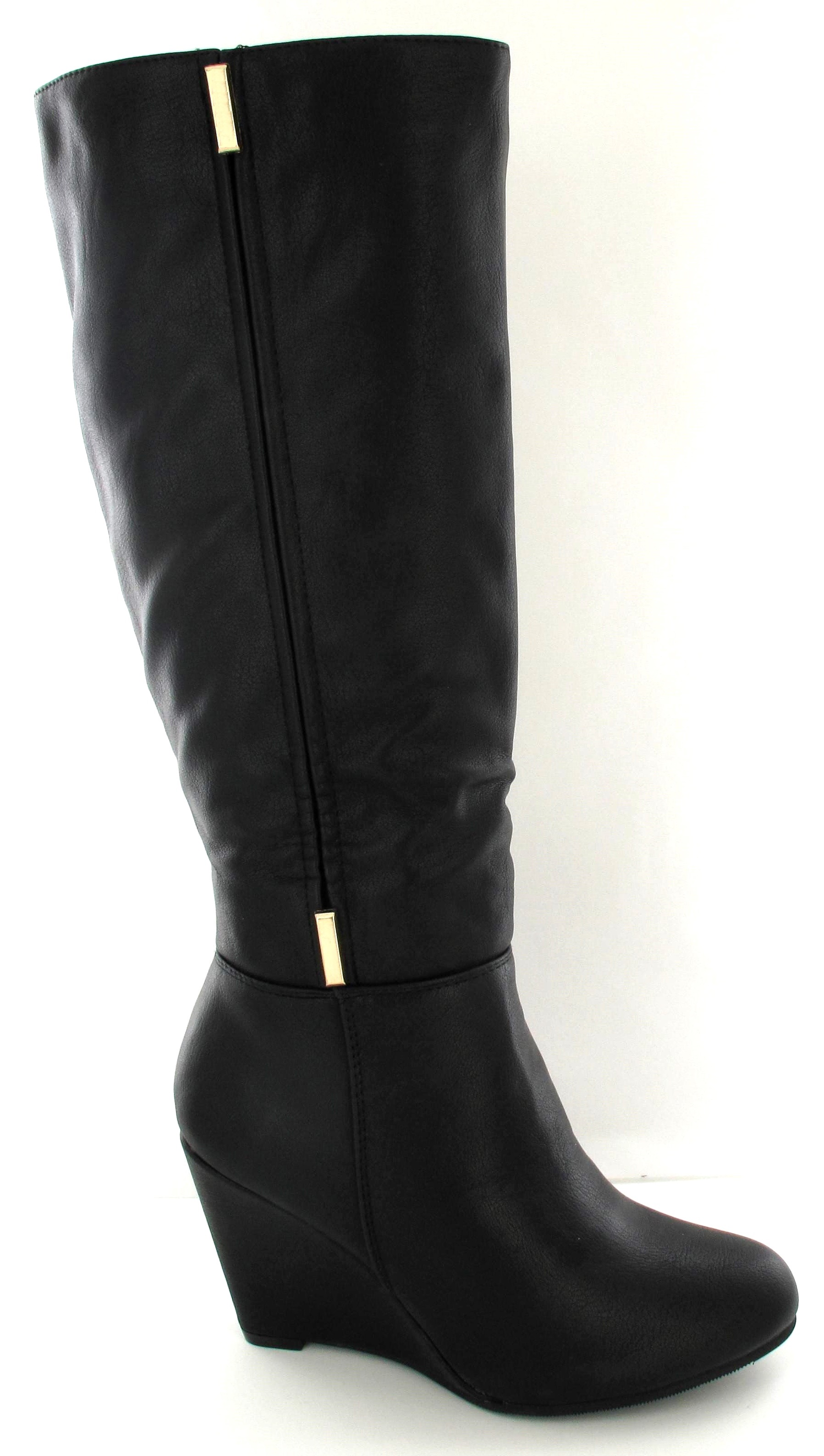 wedge suede heel knee high black chestnut trendy