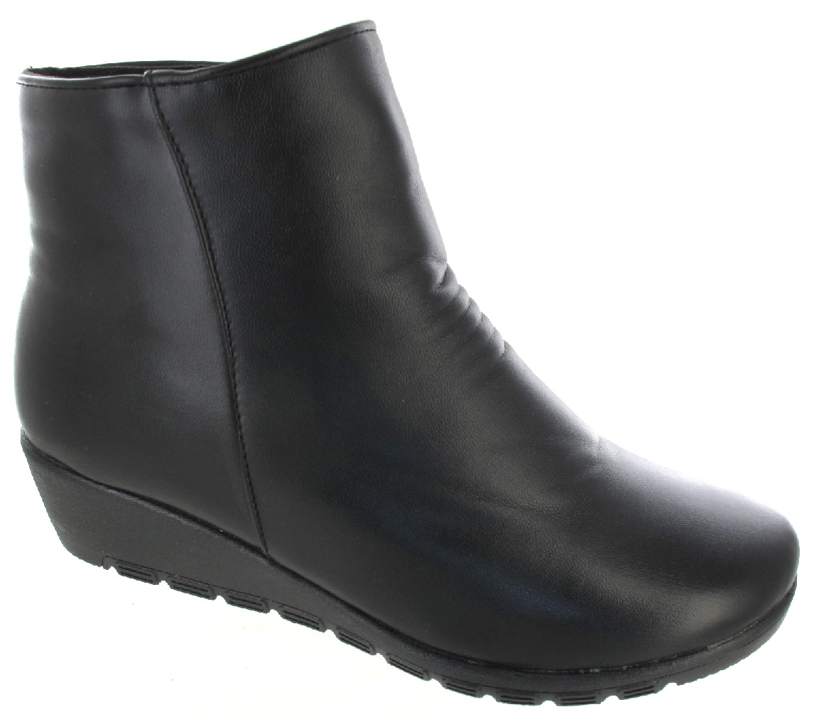 new womans wide ankle boot low flat wedge heel