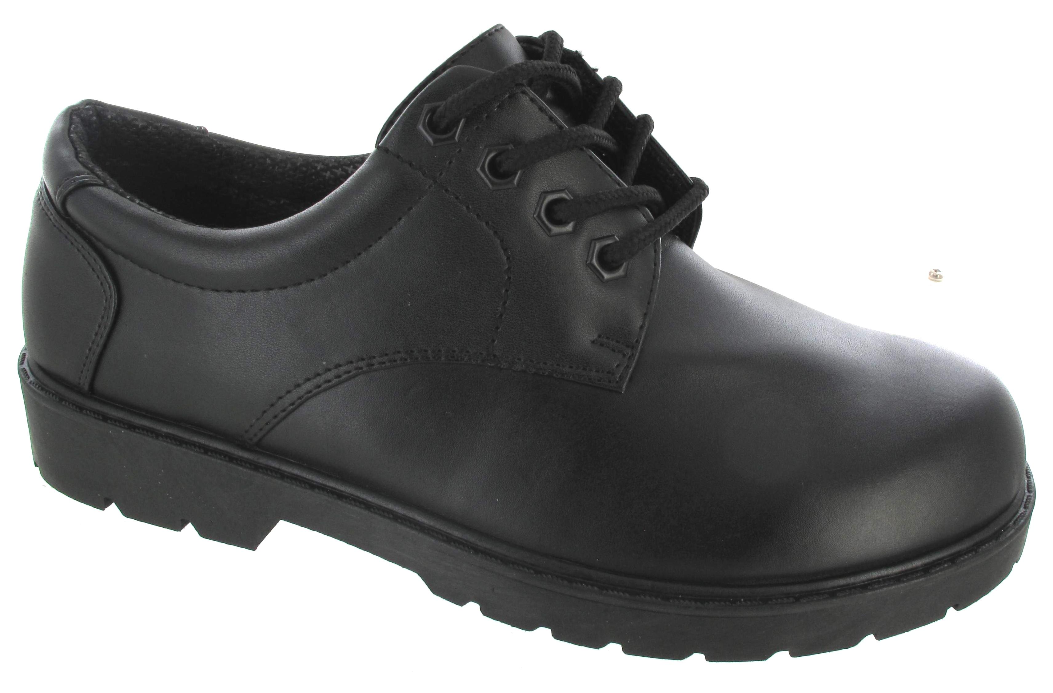 mens new smart work shoe plain black school office boys