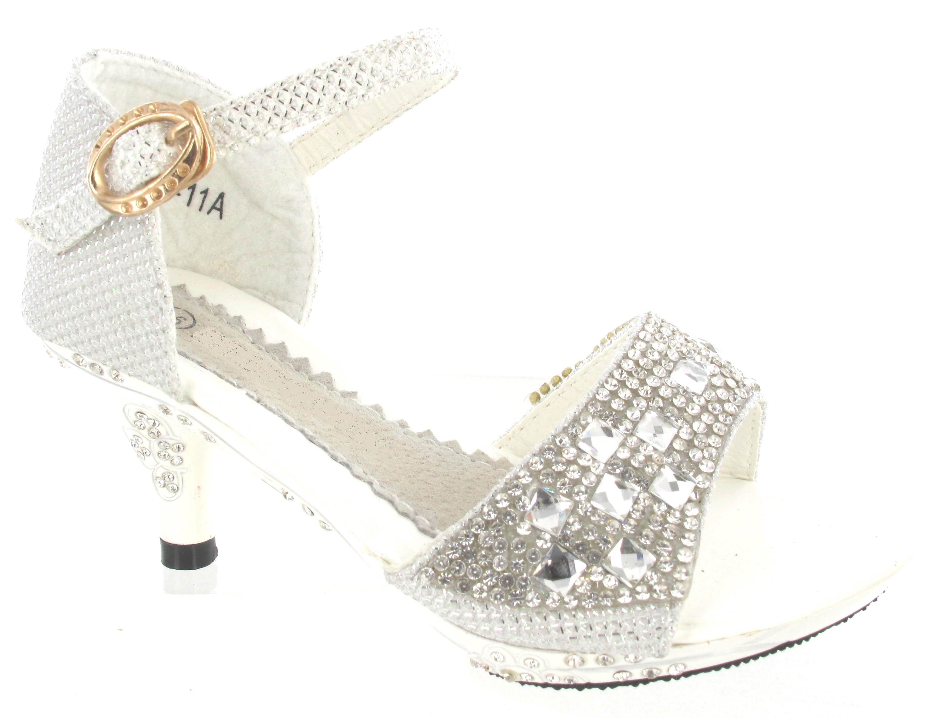 NEW GIRLS MID HIGH HEEL WEDDING PARTY BIRDESMAID DIAMANTE SANDALS KIDS SHOES SZ