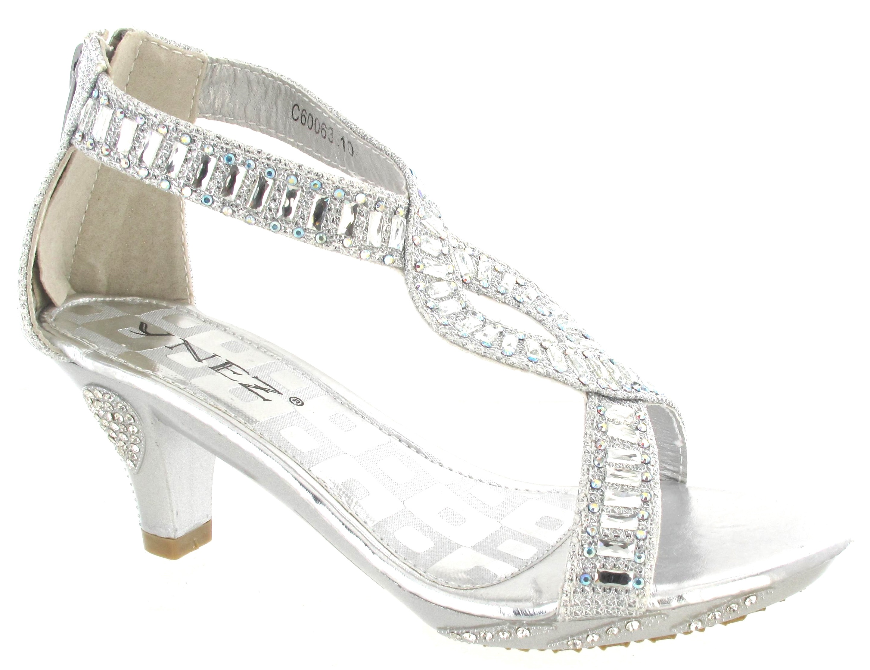 GIRLS HIGH HEEL FANCY PARTY WEDDING KIDS DIAMANTE SILVER GOLD ...