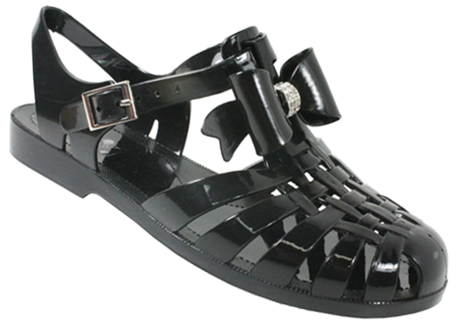 Black jelly sandals with bow - Ladies New Bow Diamante Bow Jelly Jellies Sandals