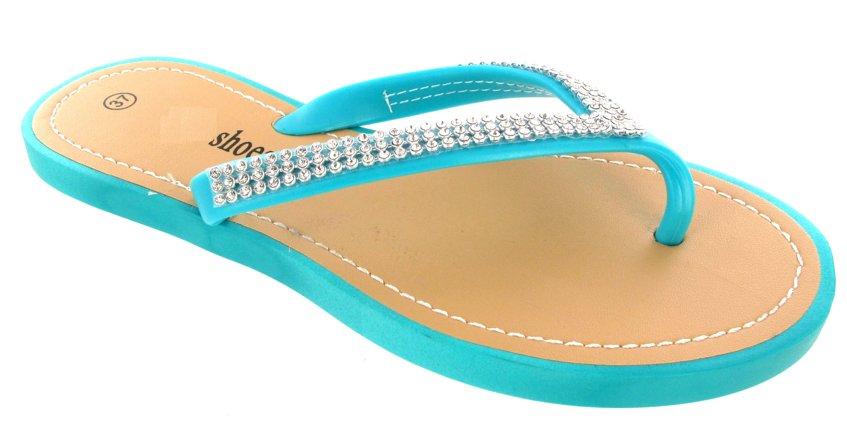 WOMANS FLAT DIAMANTE JELLY SUMMER FLIP FLOP LADIES NEW BEACH SANDALS TOE POST SZ