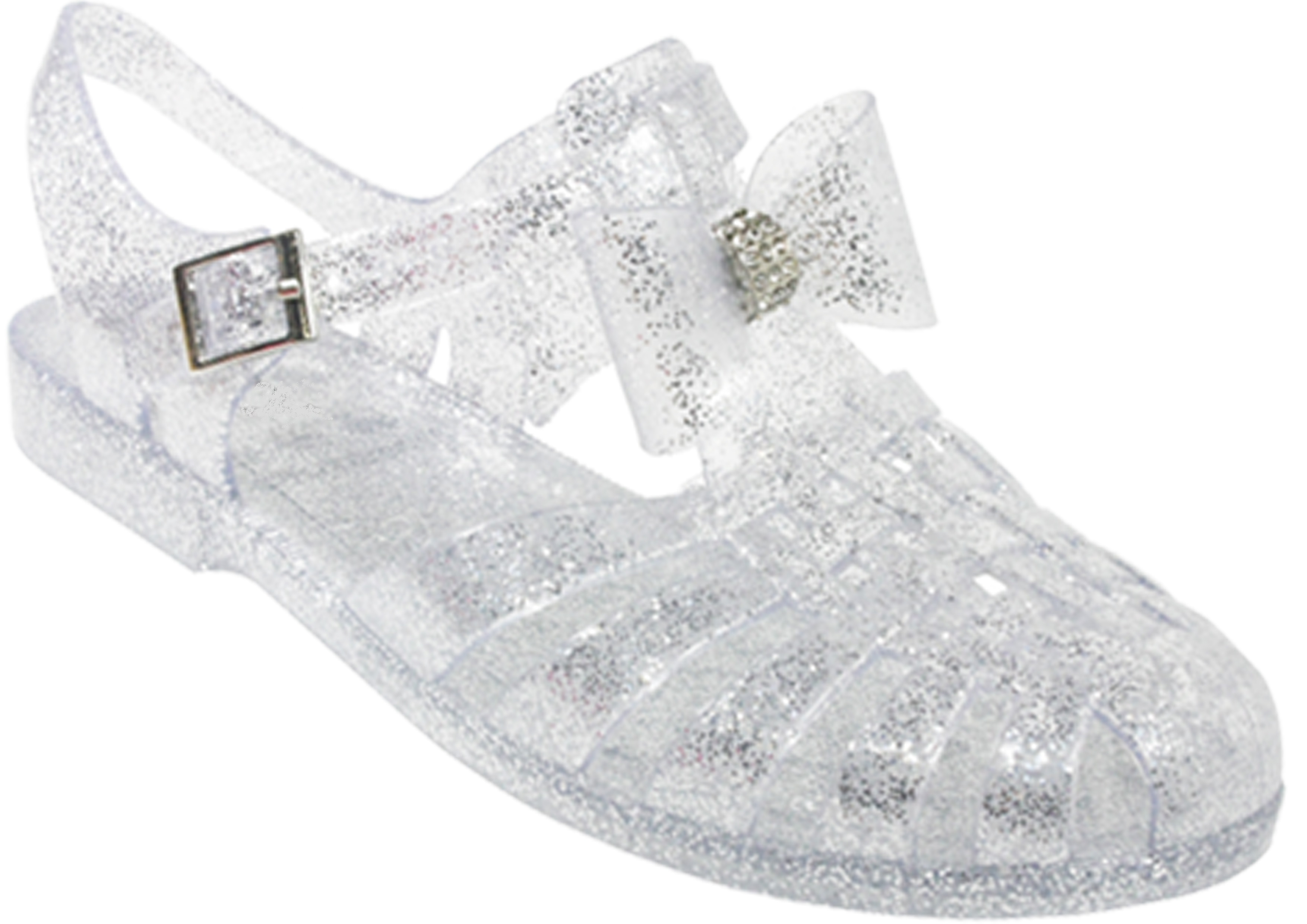 Black jelly sandals with bow - Childrens Kids Girls Jelly Bow Diamante Retro Jellies