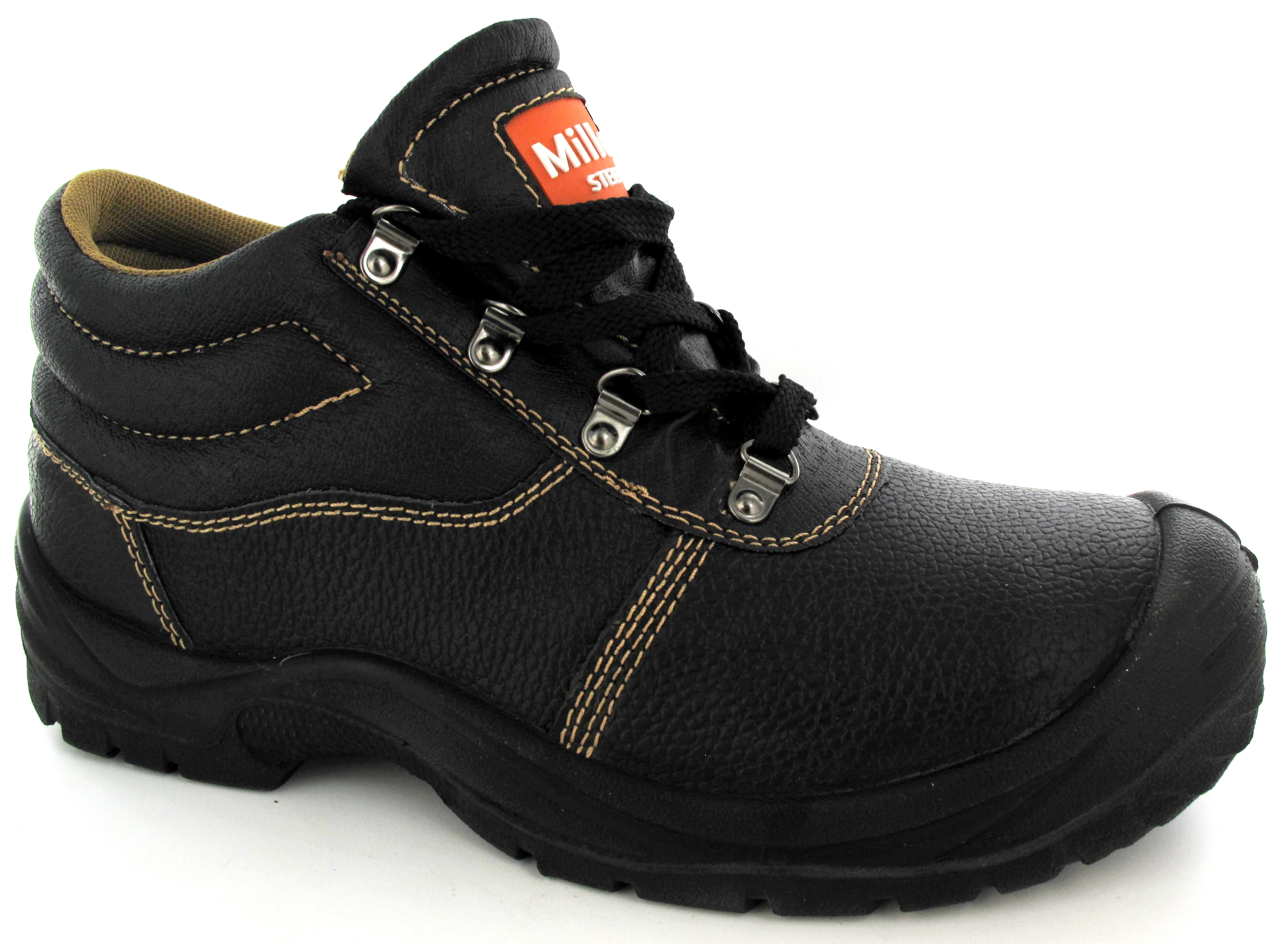 NEW MENS BLACK HIGH TOP SAFETY BOOTS STEEL TOE CAP ...