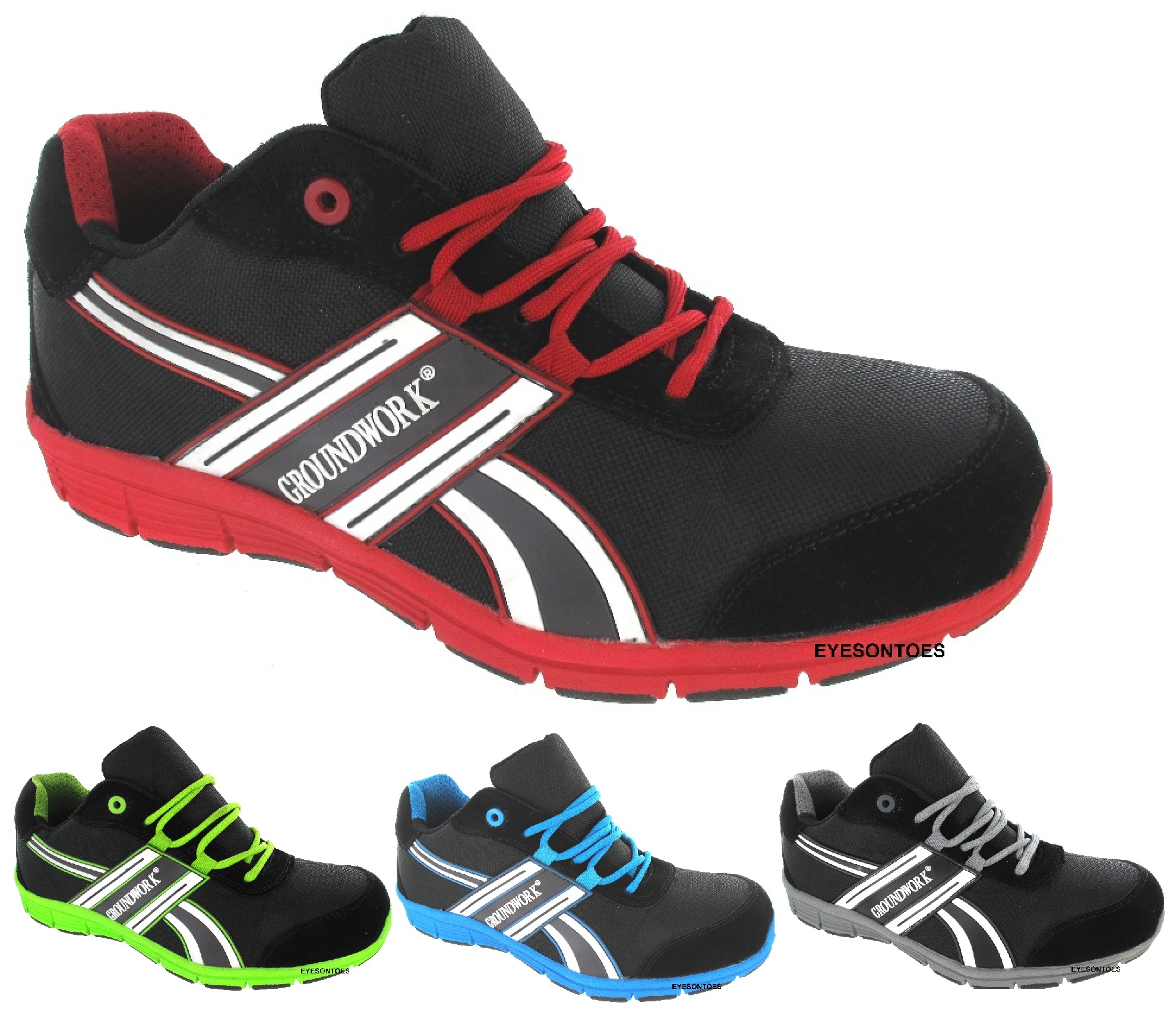 new mens sport safety trainers groundwork steel toe cap