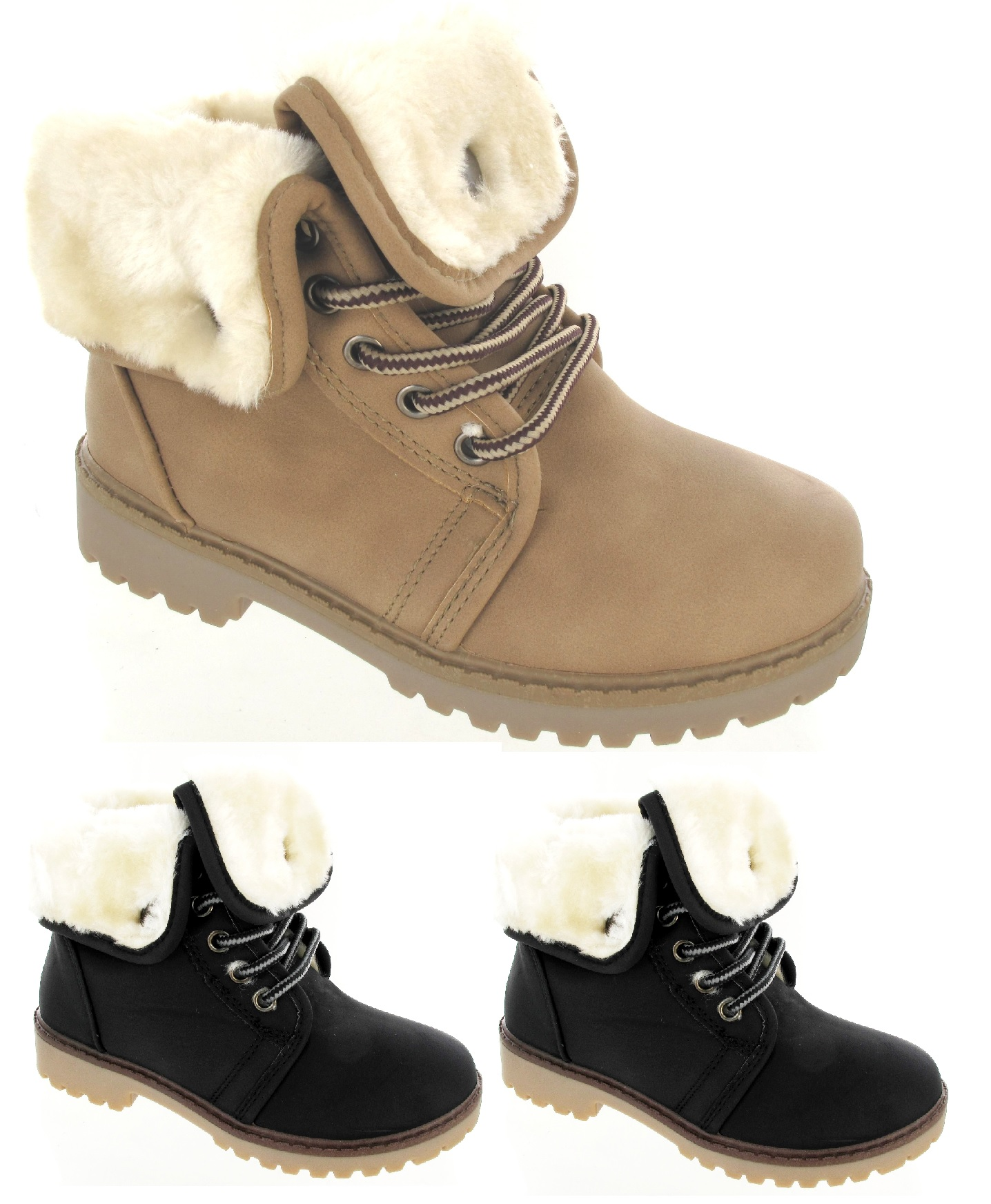 boys flat ankle boots childrens winter fur lined
