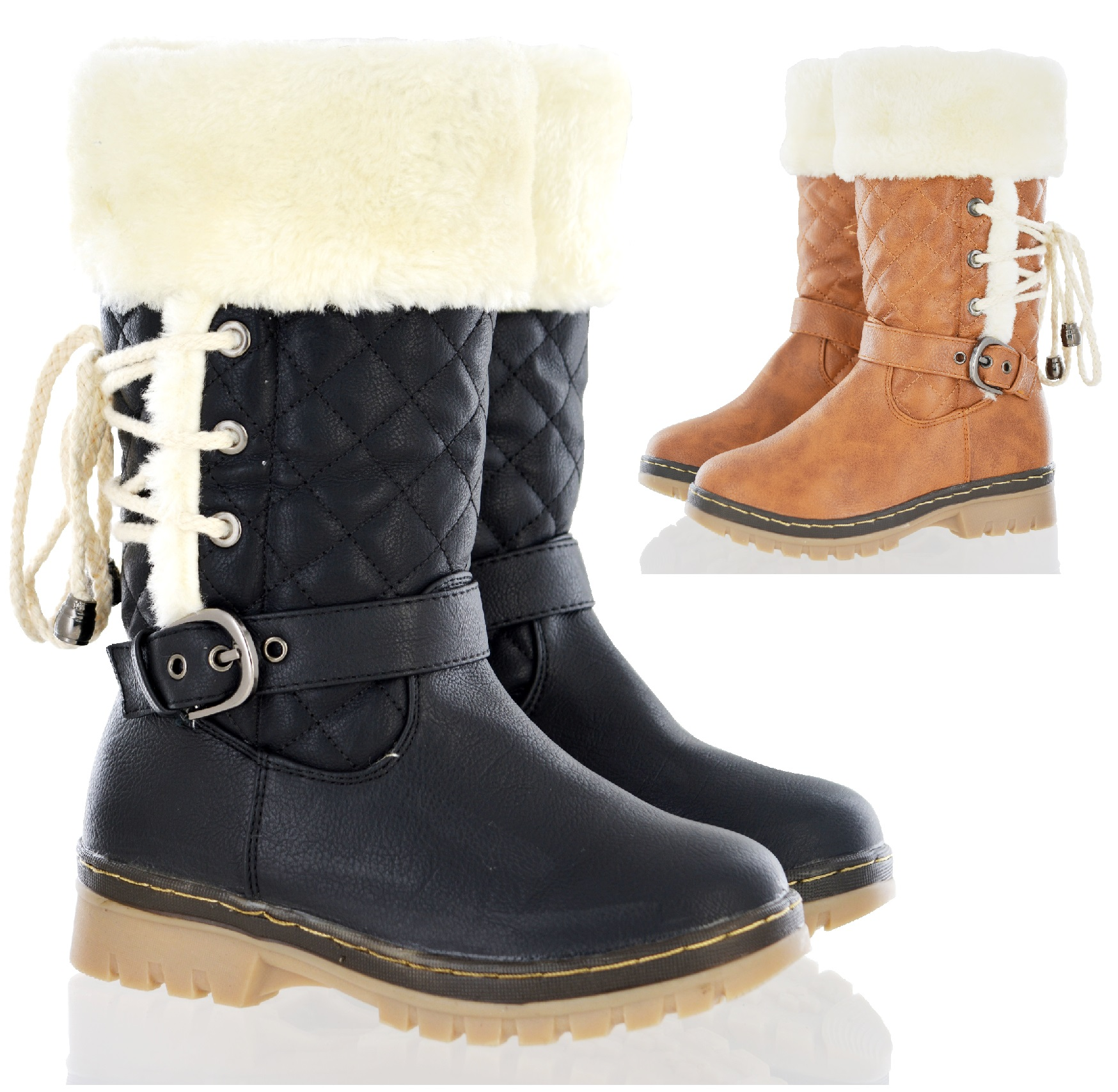 KIDS GIRLS CHILDRENS BOOTS SHOES FULLY FUR LINED WARM
