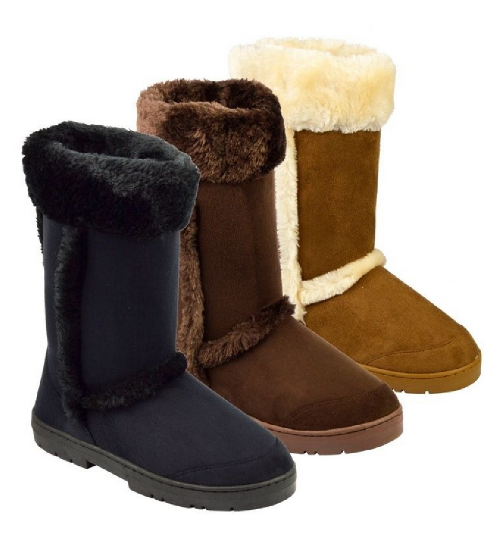 LADIES WINTER WOMENS GRIP SOLE MID CALF FAUX SHEEPSKIN FUR