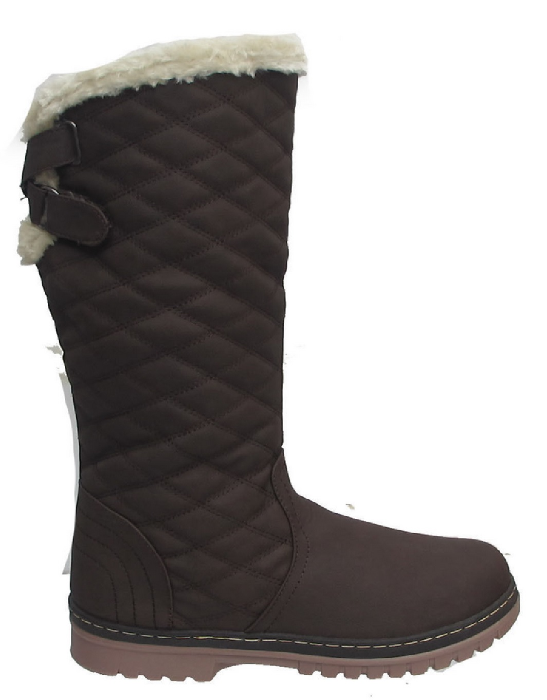 NEW LADIES WINTER WOMENS QUILTED GRIP SOLE MID CALF FUR