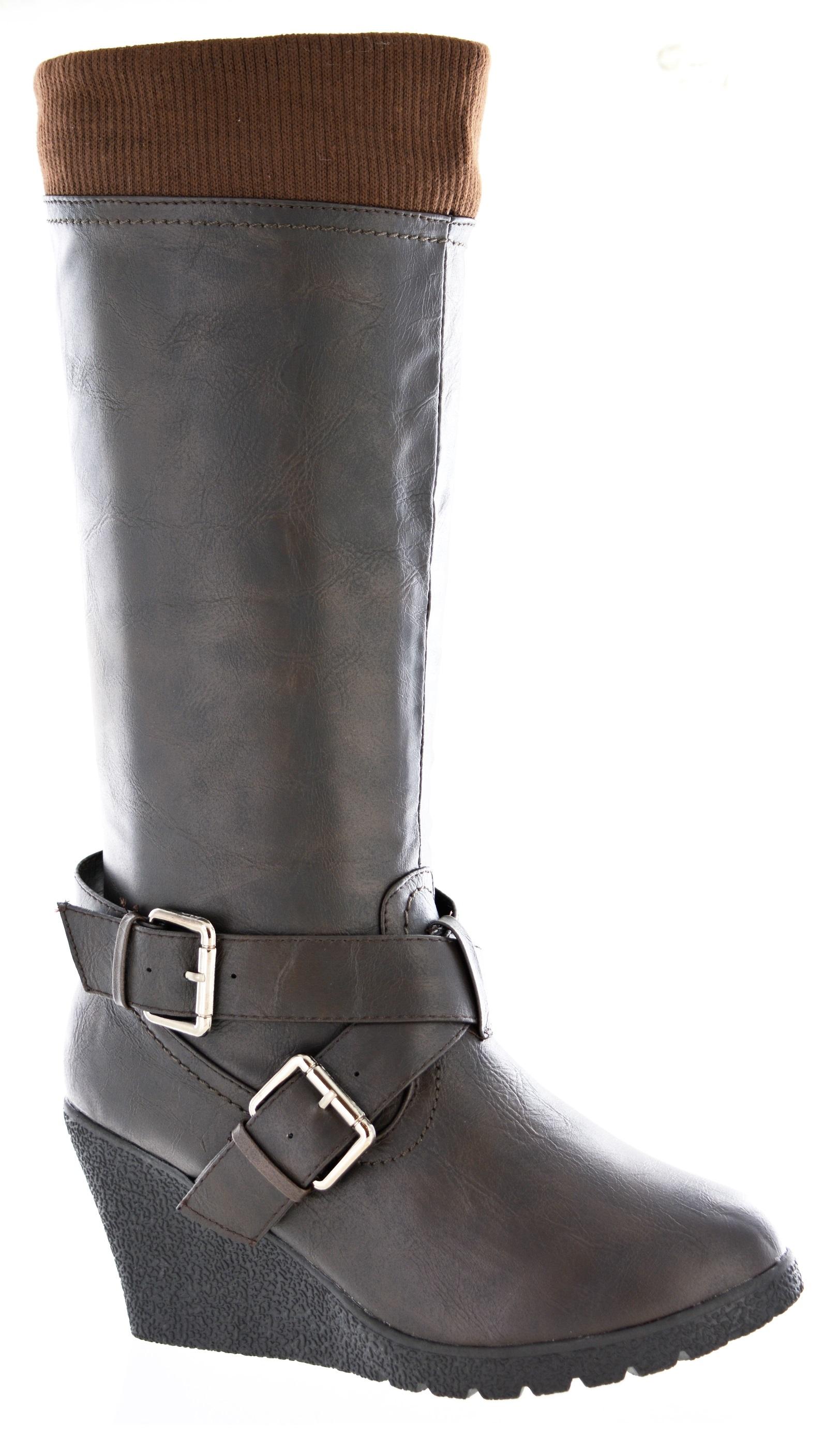 new womens knee high wedge trendy heel black brown