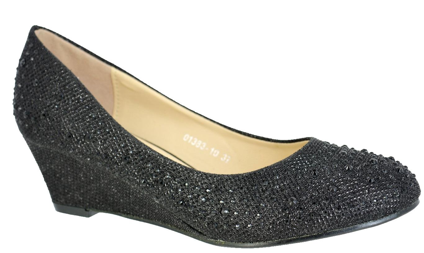 Ladies Black Wedge Shoes Size