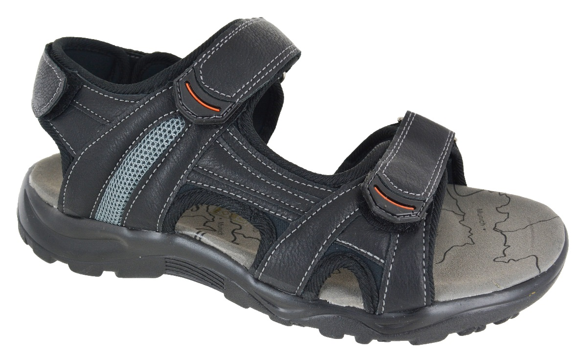 mens walking velcro sport summer sandals black mule