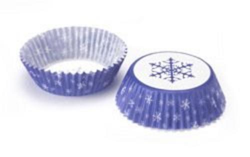 100x Eddingtons Small Mini Paper Fairy Cake Cupcake Muffin Cases Blue Snowflake