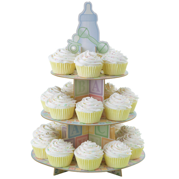 Wilton 3 tier baby feet cup cake stand display baby shower christening birthday ebay - Wilton baby shower cake toppers ...