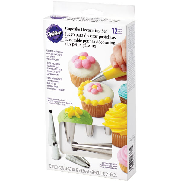 Wilton 12-Piece Cupcake Decorating Set Cake Icing Fondant Tips Nozzles Bags eBay