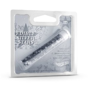 Rainbow Dust 100% Edible Metallic Cake Decorating Shapes Silver Stars Sprinkles Enlarged Preview