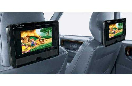bush dual screen 9 7 portable car dvd player watch 2. Black Bedroom Furniture Sets. Home Design Ideas
