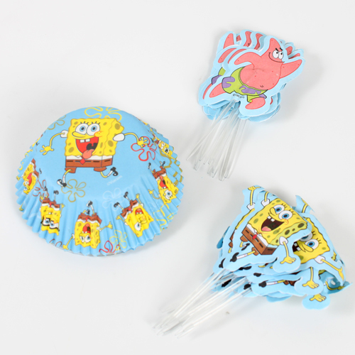 Wilton Spongebob Squarepants Combo Pack Cupcake Cases Cake Toppers Picks