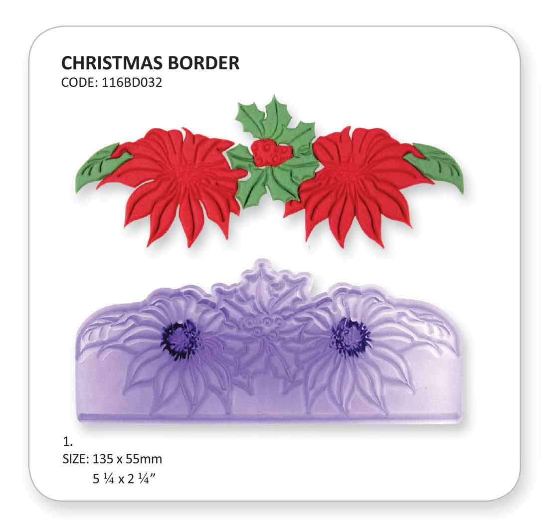 Cake Decorating Borders : JEM CHRISTMAS BORDER Flower Design Cutters Icing ...