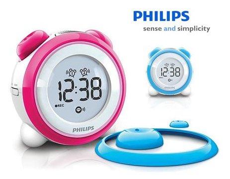 philips aj3138 kinder digital radiowecker mit aufsatzringe tasten blau rosa ebay. Black Bedroom Furniture Sets. Home Design Ideas