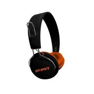 On Earz Lounge Headphones On-Ear Earphones + Microphone Stylish Black & Orange Enlarged Preview