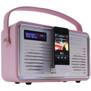 view quest retro tragbarer dab fm radio mit ipod iphone dockingstation rosa ebay. Black Bedroom Furniture Sets. Home Design Ideas