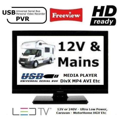manta 19 inch led 12v 12 volt digital freeview tv with usb pvr ref 16 22 24 26 ebay. Black Bedroom Furniture Sets. Home Design Ideas