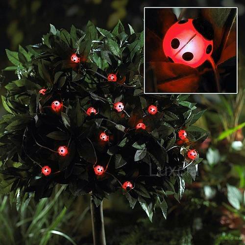 Electric Butterfly String Lights : 40xLadybird LED String Fairy Garland Outdoor Garden Solar Powered Lights