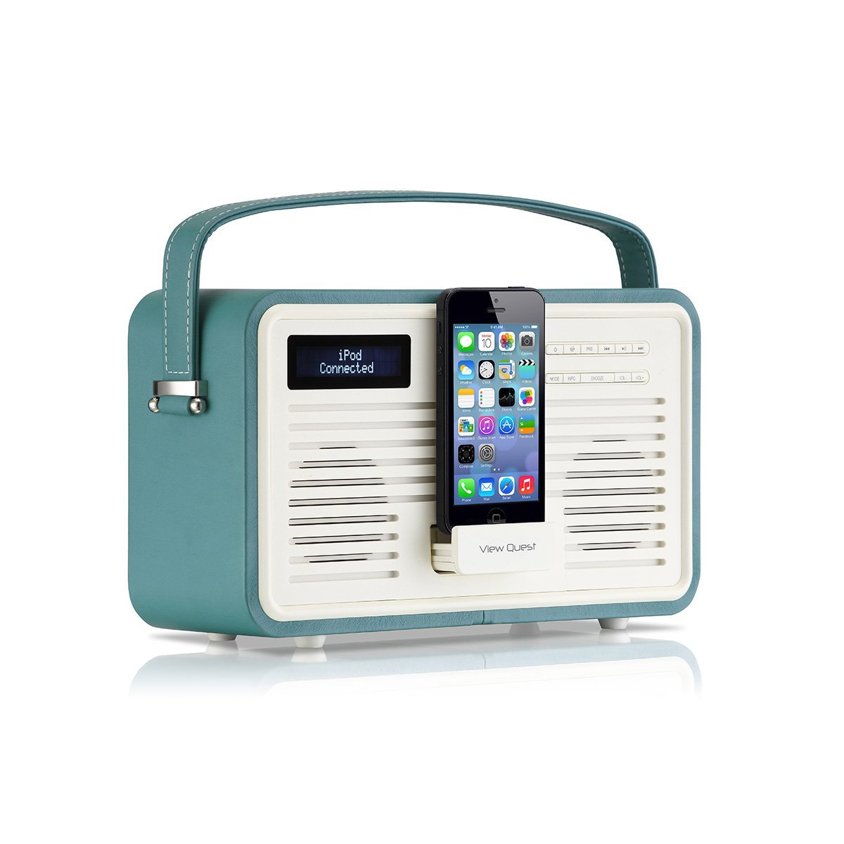 viewquest retro colourgen dab fm radio ipod iphone 5 5c 5s 6 dock station teal ebay. Black Bedroom Furniture Sets. Home Design Ideas