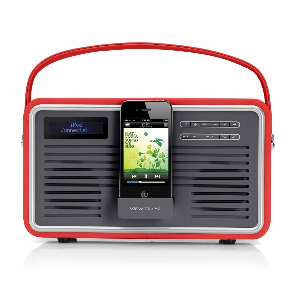 view quest retro tragbarer dab fm radio mit ipod iphone dockingstation rot ebay. Black Bedroom Furniture Sets. Home Design Ideas