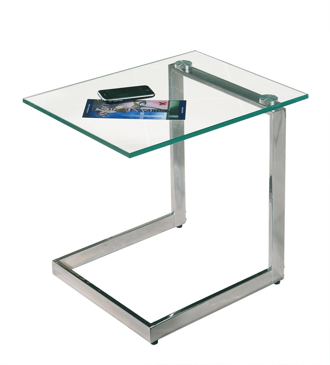 Yolanda tempered clear glass top side coffee living room - Glass side tables for living room uk ...