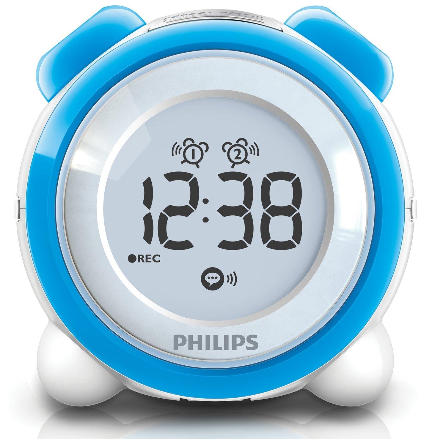philips aj3138 digital alarm clock radio interchangeable rings buttons blue pink ebay. Black Bedroom Furniture Sets. Home Design Ideas