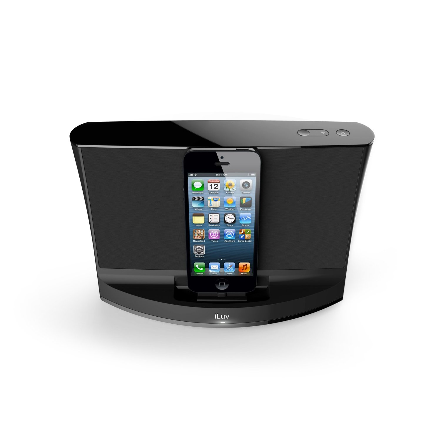 iluv aud 3 9w speaker lightning docking station for iphone. Black Bedroom Furniture Sets. Home Design Ideas