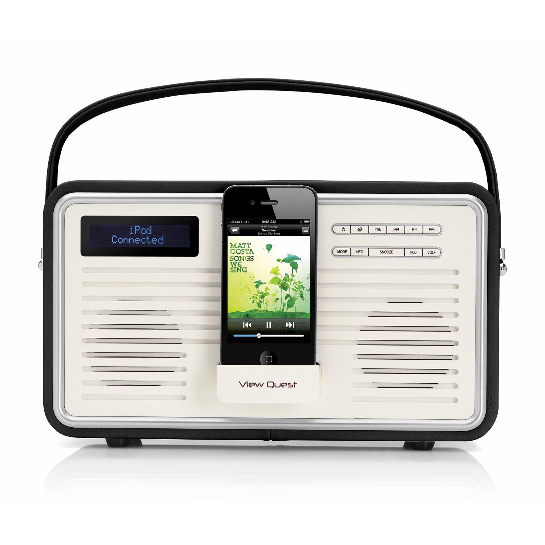 view quest retro tragbarer dab fm radio mit ipod iphone dockingstation schwarz ebay. Black Bedroom Furniture Sets. Home Design Ideas