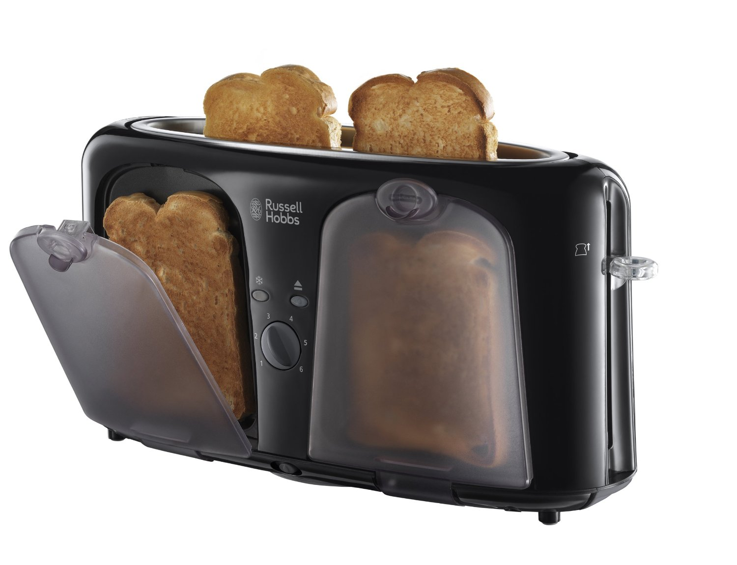 russell hobbs 19990 2 slice easy toaster with keep warm draws black new ebay. Black Bedroom Furniture Sets. Home Design Ideas