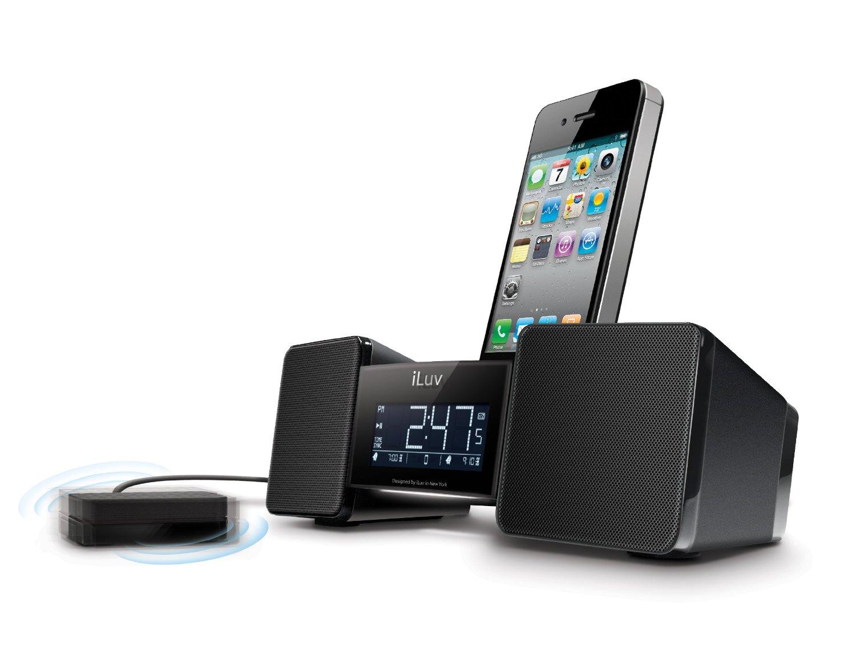 iluv vibro shaker speaker fm radio with docking station for iphone 3 4 4s ipod ebay. Black Bedroom Furniture Sets. Home Design Ideas