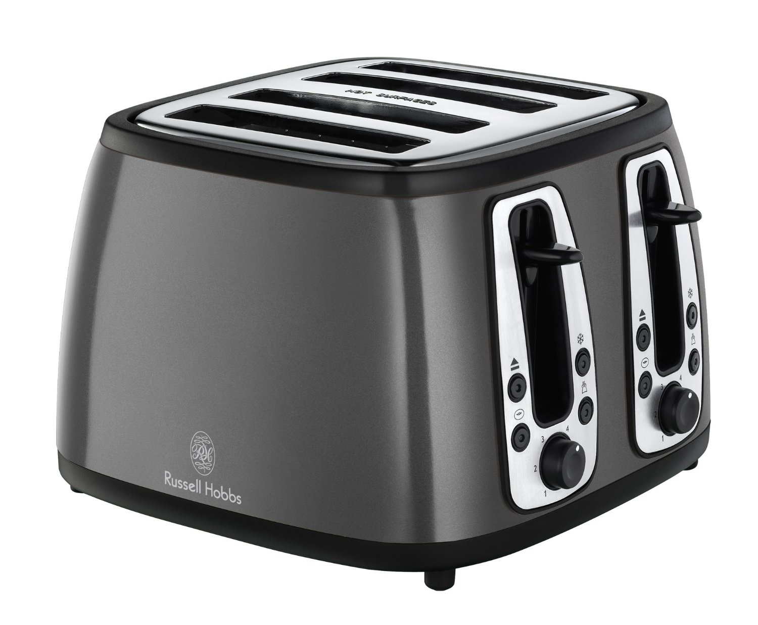 russell hobbs 19163 heritage 4 slice toaster metallic graphite grey new ebay. Black Bedroom Furniture Sets. Home Design Ideas