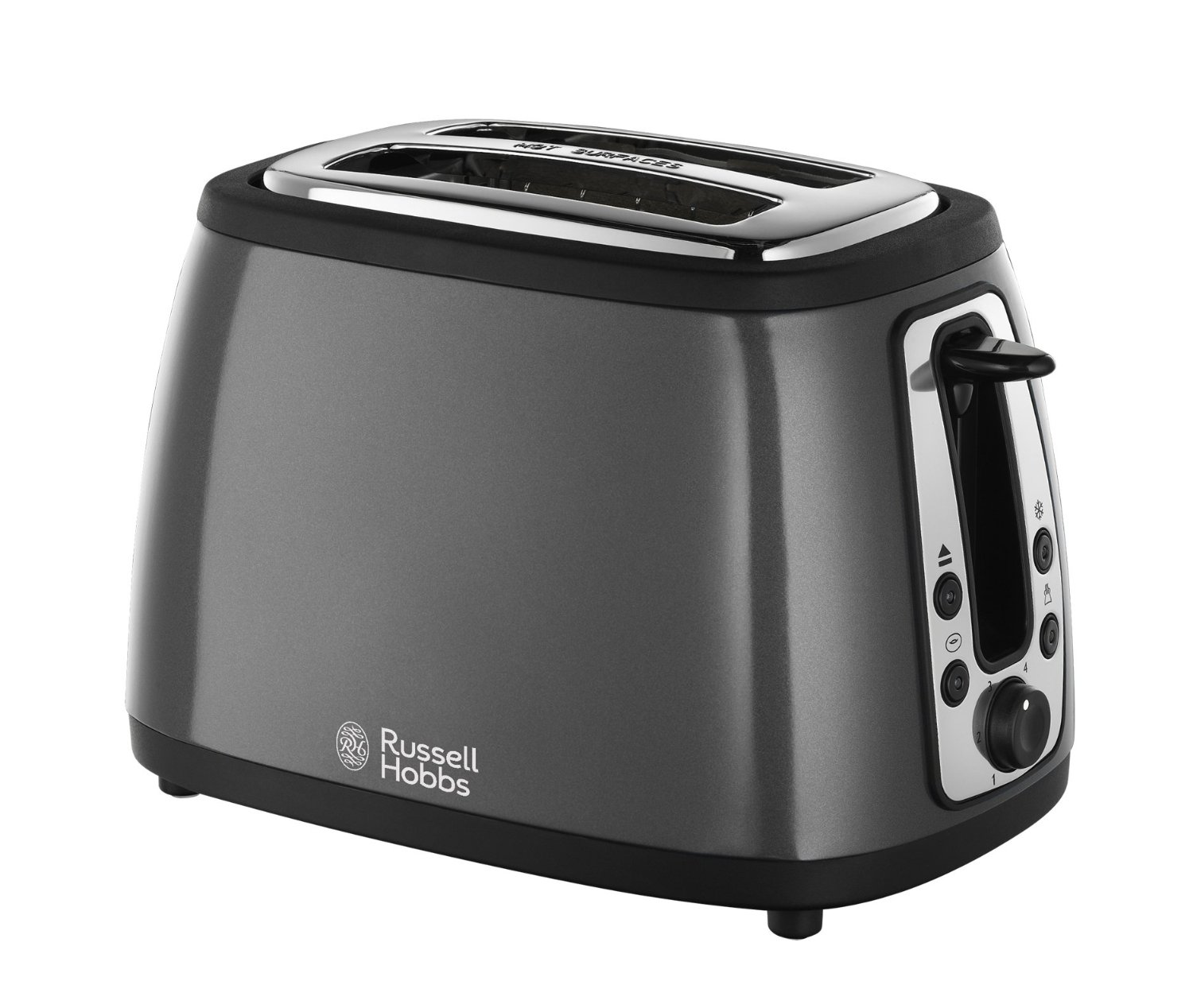 russell hobbs 19154 heritage 2 slice toaster metallic graphite grey new ebay. Black Bedroom Furniture Sets. Home Design Ideas